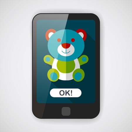 osito caricatura: oso de peluche icono plana con larga sombra