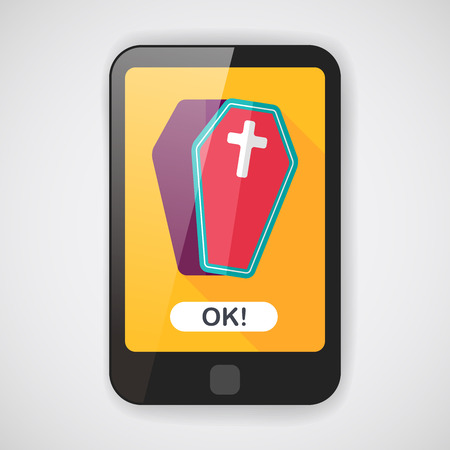 coffin: coffin falt icon with long shadow  Illustration