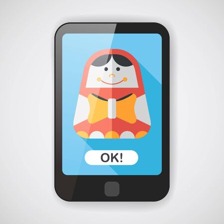 russian doll: Russian Doll flat icon with long shadow