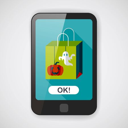 holiday celebrations: Halloween shopping bag flat icon with long shadow  Illustration