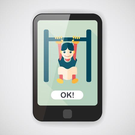 rekstok: Jongen opknoping horizontale balk plat icoon met lange schaduw Stock Illustratie