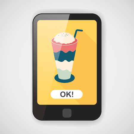 iced: iced floating coffee flat icon with long shadow  Illustration