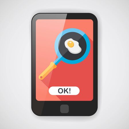 Kitchenware pan and egg flat icon with long shadow 일러스트