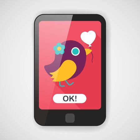 lovebirds: wedding bird flat icon with long shadow  Illustration