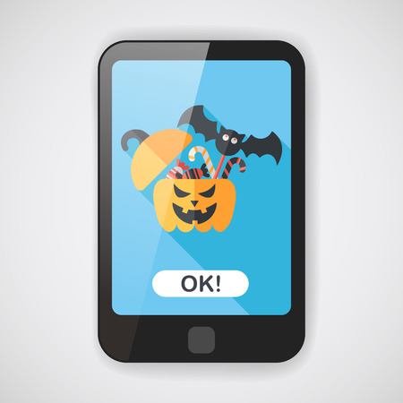 sh: halloween pumpkin shaped box with candies flat icon with long sh