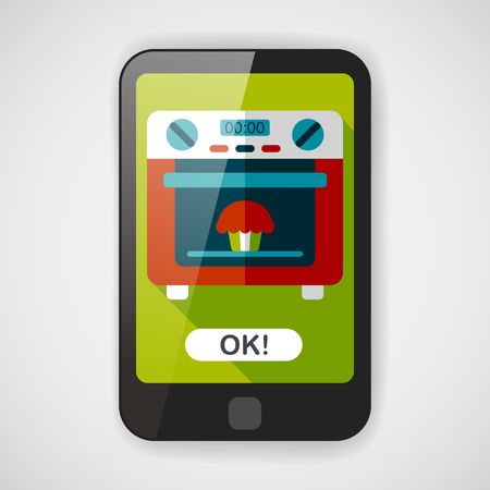 roaster: kitchenware oven flat icon with long shadow