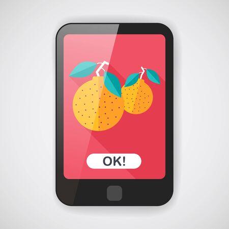 mandarin oranges: Chinese New Year Mandarin Oranges flat Illustration