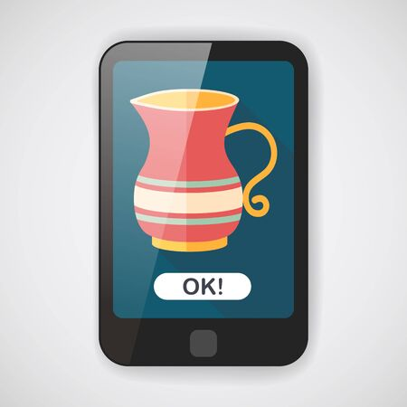 teakettle: tea pot flat icon with long shadow