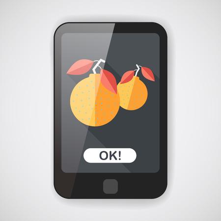 mandarin oranges: Chinese New Year Mandarin Oranges flat icon wtih long shadow Illustration