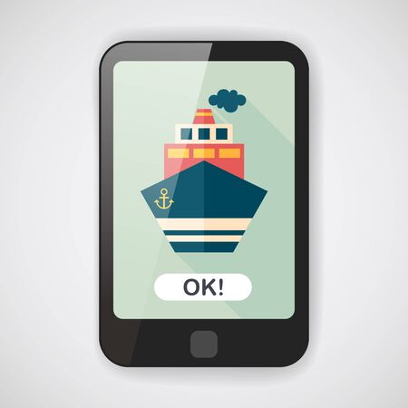marine industry: Transportation ship flat icon with long shadow,eps10