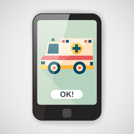 emt: Transportation ambulance flat icon with long shadow,eps10