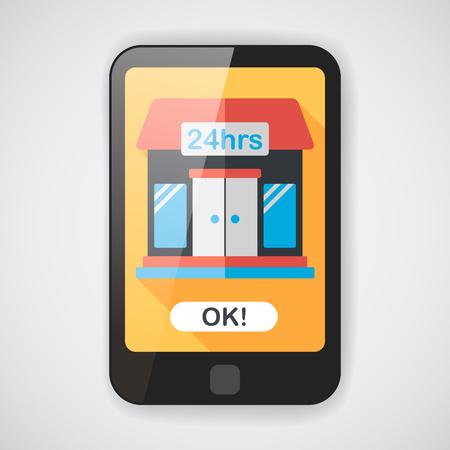 punto vendita: Costruire comoda icona piatto negozio con una lunga ombra, eps10
