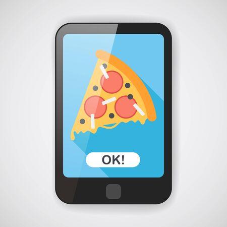 caja de pizza: icono plano de pizza con una larga sombra, eps10 Vectores