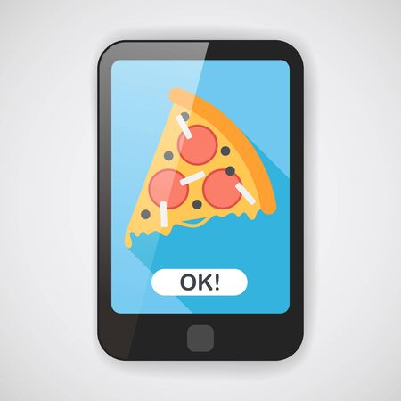 pizza ingredients: pizza flat icon with long shadow,eps10