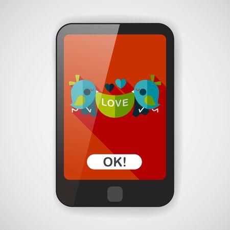 lovebirds: wedding bird flat icon with long shadow,eps10
