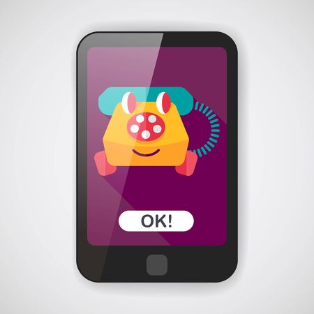 toy phone: toy phone flat icon with long shadow,eps10 Illustration