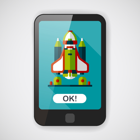 cartoon rocket: Space rocket flat icon with long shadow,eps10