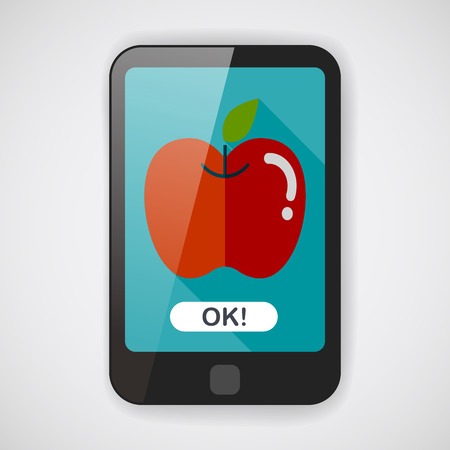 dieting: Apple flat icon with long shadow,eps10