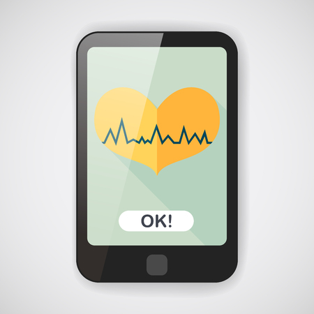 blood pressure monitor: ECG heart flat icon with long shadow Illustration