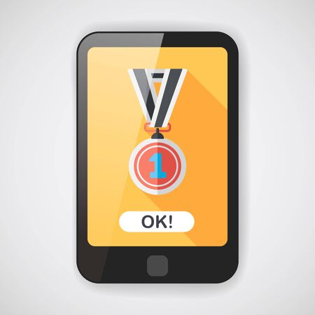 conquering: medal flat icon with long shadow,eps10