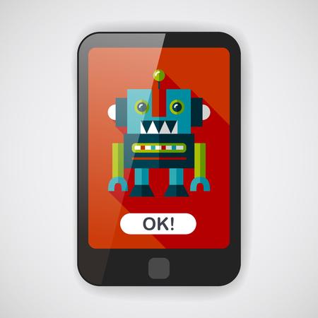 robot: rocznik Robot płaskim ikona z długim cieniem, EPS 10 Ilustracja