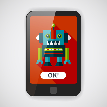 android robot: vintage robot flat icon with long shadow,eps 10