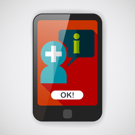 speech bubble: medical speech flat icon with long shadow