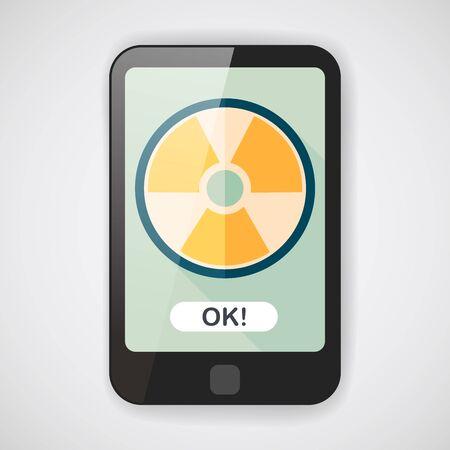 radiation: Radiation flat icon with long shadow Illustration