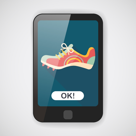 shoelace: sneaker flat icon with long shadow,eps10