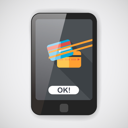 bank activities: credit card flat icon with long shadow