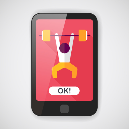 dumbell: weightlifting flat icon with long shadow,eps10 Illustration