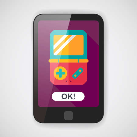 handheld: Handheld game consoles flat icon with long shadow