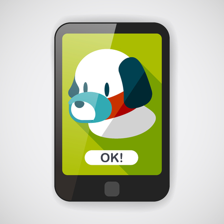 yawning: Pet dog mouth cover flat icon with long shadow Illustration