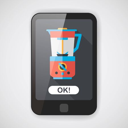 kitchenware electric juicer flat icon with long shadow Illustration