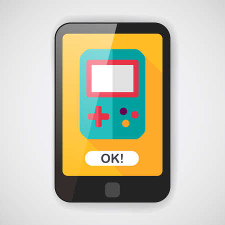 handheld device: Handheld game consoles flat icon with long shadow