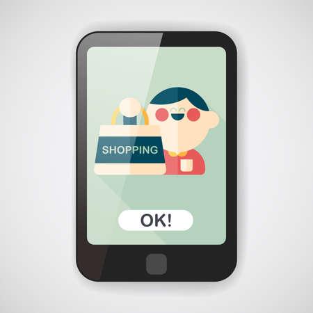 happy shopper: SALE Shopaholic flat icon with long shadow