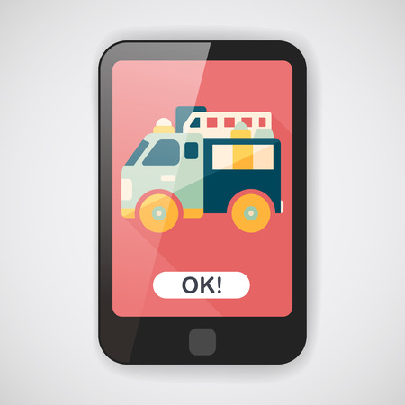 emergency engine: Transportation Fire truck flat icon with long shadow Illustration