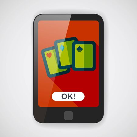 ace of diamonds: Playing cards flat icon with long shadow Illustration