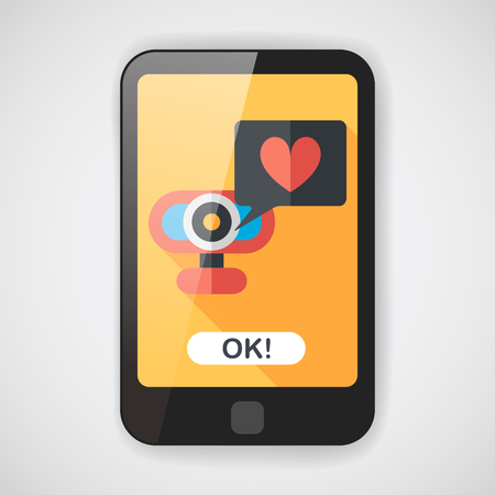 webcam: Valentines Day webcam love message flat icon with long shadow Illustration