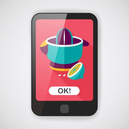 squeezed: kitchenware juicer flat icon with long shadow