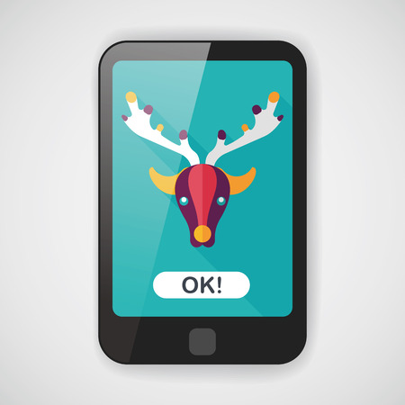 rudolph: Reindeer flat icon with long shadow