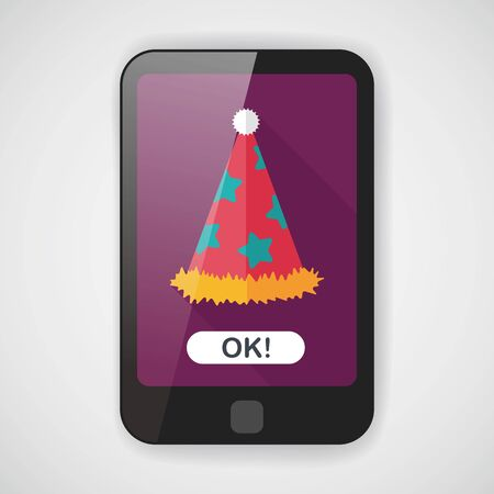 party hat: birthday party hat flat icon with long shadow