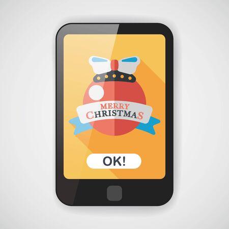 christmas tree ball: Christmas ball flat icon with long shadow  Illustration