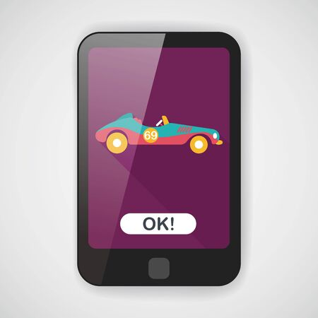 convertible car: Transportation open car flat icon with long shadow  Illustration