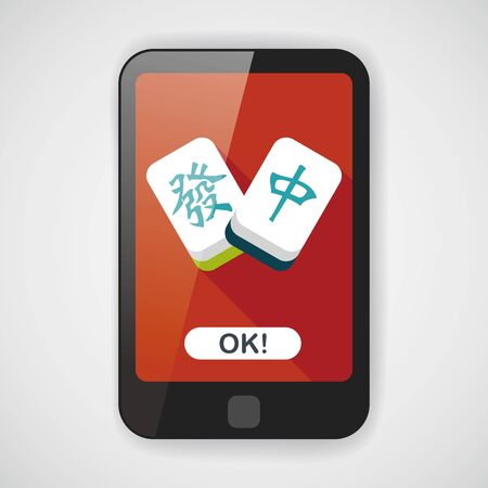 fa: Chinese New Year flat icon icon with long shadow, Chinese mahjong