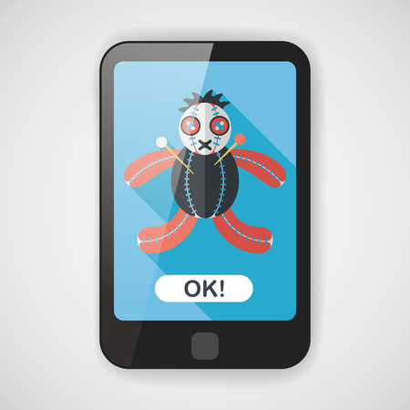ugliness: Halloween voodoo doll flat icon with long shadow