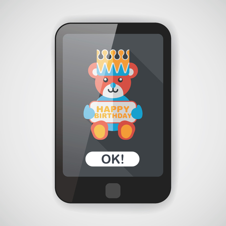 greeting card vector: birthday bear flat icon with long shadow