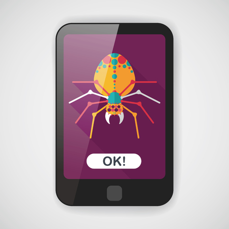 halloween spider: Halloween spider flat icon with long shadow