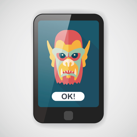 terrify: Halloween devil flat icon with long shadow  Illustration