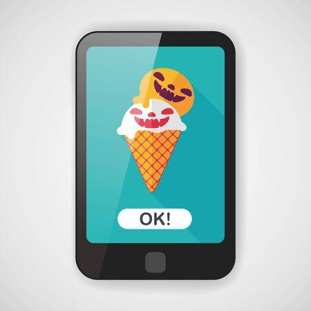 cornet: Halloween ice cream flat icon with long shadow
